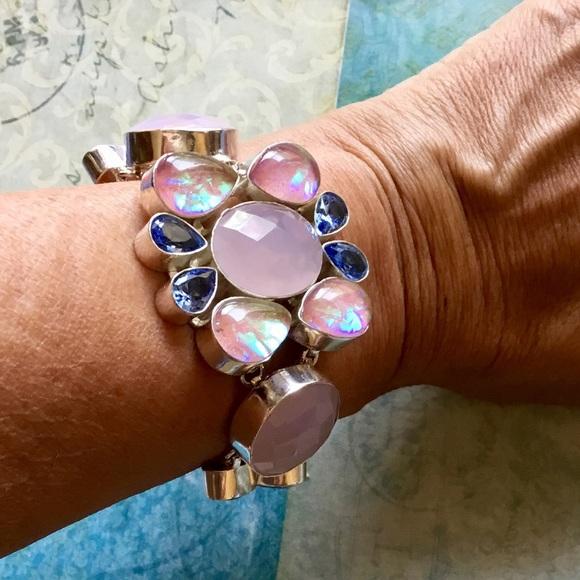 Artisan Ethnic Jewelry - Rose Quartz Triple Fire Opal Flower Bracelet